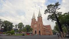 View of Saigon Notre-Dame Basilica Stock Footage