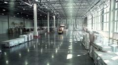 Camera moving at warehouse. Warehouse interior. Camera is moving forward. Stock Footage