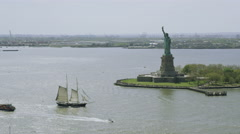 Helicopter aerial view of  Statue of Liberty Stock Footage