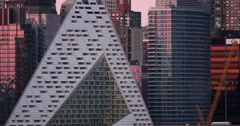 CU of VIA 57 West building and other New York City skyscrapers Stock Footage