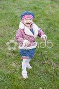 Small girl on walk Stock Photos