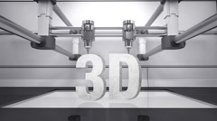 3D printer, make typo '3D' 3D scanner animation.white. Stock Footage