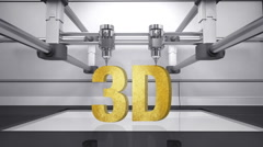3D printer, make typo '3D' 3D scanner animation.gold Stock Footage