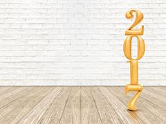 New year 2017 (3d rendering) gold color number on wood plank floor and white  Stock Illustration