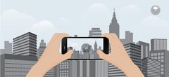 360 degree view in  mobile.urban scene Stock Illustration