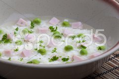 Smoked meat bouillon with peas and rice Stock Photos