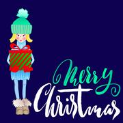 Girl holding a gift box with handwritten inspiration. Wish you a merry Christmas Stock Illustration