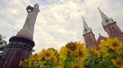 Wide lense shooting view of Saigon Notre - Dame Basilica Stock Footage