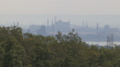 Heavy haze and smog blankets industrial city Stock Footage