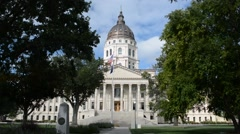Kansas State Capitol Building Statehouse on a Sunny Day with Trees Stock Footage