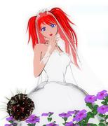 Toon bride in Japanese Comic Style Stock Illustration