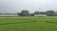 Panning view of ho chi minh tomb in ha noi Stock Footage