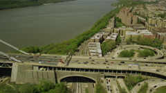 Aerial view of George Washington Bridge New York City Stock Footage
