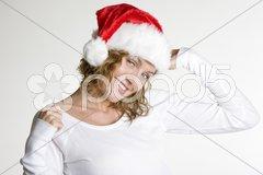 Woman''s portrait - Santa Claus Stock Photos