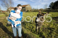 Mother with her child looking at donkey, Champagne, France Stock Photos