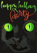 Halloween black cat with green eyes. Halloween handwritten lettering. Vector Stock Illustration