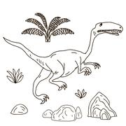 Vector hand drawn illustration jurassic Stock Illustration