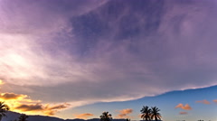 Sunset over jungle mountains on the background Stock Footage
