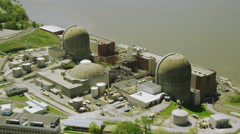 Aerial view of Indian Point Power Plant Stock Footage