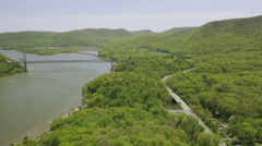 Aerial view of bridge over Hudson River New York  City State Stock Footage