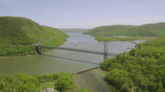 Aerial view of Bridge spanning the Hudson River, New York City Stock Footage