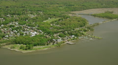 Aerial view of a town on the Hudson River New York City Stock Footage