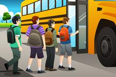 Kids getting on the school bus Piirros