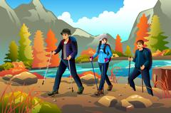 Young people going hiking outdoors Stock Illustration