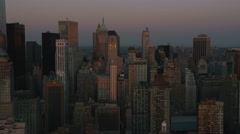 Erial shot of sunset over New York City skyline Arkistovideo