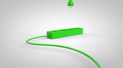 Plugging a electrical cord cable into socket. Green screen energy concept. Stock Footage