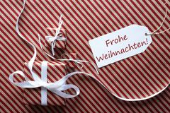Two Gifts With Label, Frohe Weihnachten Means Merry Christmas Kuvituskuvat