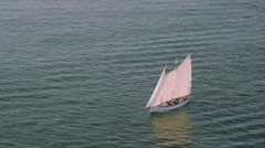 Aerial view of white sailed sailing ship. Stock Footage
