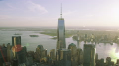 Aerial view of the One World Trade Center Stock Footage