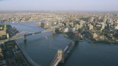 USA Aerial view of New York City panning across Hudson Bridges Stock Footage