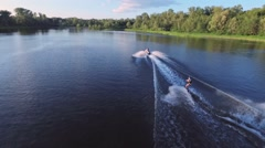 Guy rides his wakeboard Stock Footage
