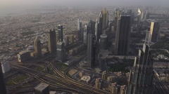 DUBAI SKYLINE AT SUNSET Stock Footage