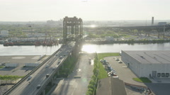 Aerial view of traffic flowing over bridge Stock Footage