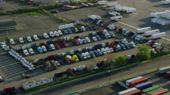 Aerial view of truck depot in New York City Stock Footage