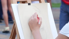Hand With Pencil Drawing Stock Footage