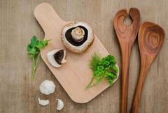 European food concept mushroom soup with champignon Stock Photos