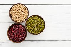 Green beans, red beans, soybean useful vitamins and health benefits. Stock Photos