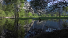 Yosemite Falls reflection in Merced River at Sunrise National Park, Californi Stock Footage