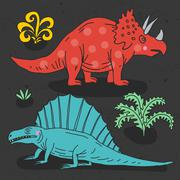 Vector hand drawn illustration with cute cartoon doodle dinosaur Stock Illustration
