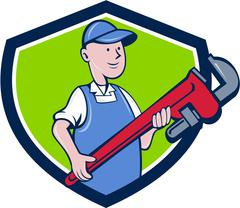 Mechanic Cradling Pipe Wrench Crest Cartoon Stock Illustration