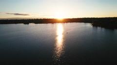 Greenlake, Seattle, Wa Sunset Aerial View Stock Footage