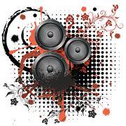 Sound Speaker with Floral Stock Illustration