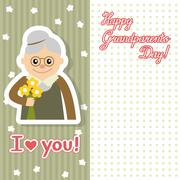 Elderly woman with flowers vector illustration postcard for grandparents day Stock Illustration