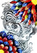 Grunge Acrylic Flowers Stock Illustration