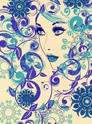 Winter Girl with Floral Grunge Stock Illustration