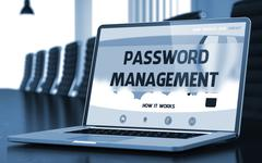 Landing Page of Laptop with Password Management Concept. 3D Illustration Stock Illustration